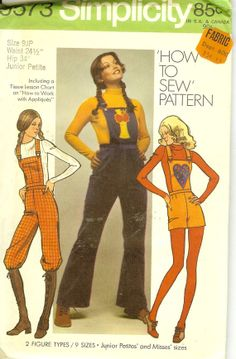 Junior Petite Pants & Knickers With Bib Pattern ~ Simplicity 9573 Size 11 JP ~ Lesson Chart On Appli Vogue Sewing Patterns, Simplicity Sewing Patterns, Vintage Sewing Patterns, Clothing Patterns, Vintage Fabrics, Dress Patterns, 60s And 70s Fashion, Vintage Fashion, Seventies Fashion