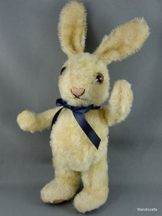 #Schuco Bunny #Rabbit Doll Mohair Plush 1960s #Standing 20 cm Glass Eyes Flat Feet Vintage