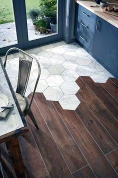 Looking for a durable, beautiful alternative to wood floors? Wood floor tiles are a great flooring solution to add some rustic charm to your home. Modern Kitchen Flooring, Flooring, Wood Tile, Kitchen Flooring, Wood Floor Bathroom, Wood Kitchen, Living Room Tiles, Living Room Flooring, Floor Design