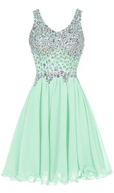 Chiffon Straps Prom Dress Short Beading Homecoming Party