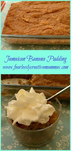 Jamaican Banana Pudding is a great way to use up those over ripe bananas. It's a tasty, flavorful and easy recipe. A perfect quick dessert. Jamaican Desserts, Jamaican Cuisine, Jamaican Dishes, Jamaican Recipes, Gluten Free Desserts, Just Desserts, Delicious Desserts, Dessert Recipes, Quick Dessert
