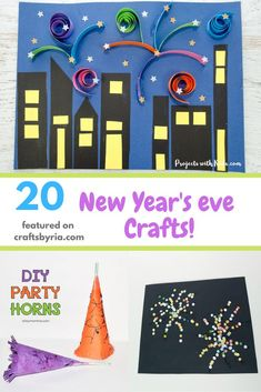 Looking for some fun New Year's Eve crafts and activities for kids? We have got an awesome collection of New year's crafts including fireworks crafts, noise maker crafts, paper sparkler crafts and free printables to have a fun-filled evening with your little ones. #newyearsevecrafts #newyearsevecraftsforkids #craftsbyria