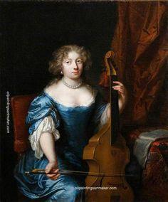 Caspar Netscher Portrait of a Lady Playing a Viola da Gamba, painting Authorized…