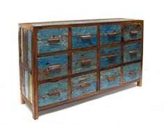 If I were independently wealthy, I'd buy this for my beloved. #blue #storage #vintage #distressed #old #drawers #cabinets
