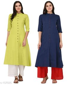 Kurtis & Kurtas Multicolored Cotton Kurti (Combo of 2)  *Fabric* Cotton  *Sleeves* Sleeves Are Included  *Size* XS, S, M, L, XL, XXL, 3XL,4XL ( Refer Size Chart For Details )  *Type* Stitched  *Description* It Has Combo of 2 Kurti  *Pattern* Solid  *Sizes Available* XS, S, M, L, XL, XXL, XXXL, 4XL *    Catalog Name: Solid Cotton Kurtis CatalogID_10640 C74-SC1001 Code: 949-107585-