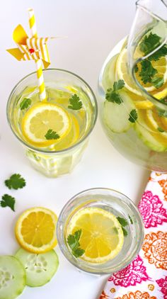 Enjoy a glass (or two) of Lemon, Cucumber & Cilantro Infused Water!
