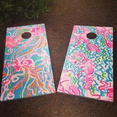 Lilly Pulitzer print cornhole boards I hand painted for my sister. #lillypulitzer #lobstahroll #jelliesbejammin #cornhole