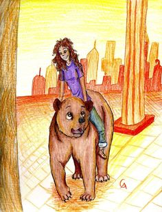 Hazel... on a bear? Arion will be jealous<<<< Di Immortals its Frank! Holy Hephaestus some demigod!