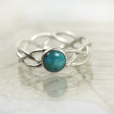 Braided Silver Ring Set With Turquoise Stone от NanfanJewellery, £28.00