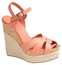 Jimmy Choo Grapefruit Leather Wedges