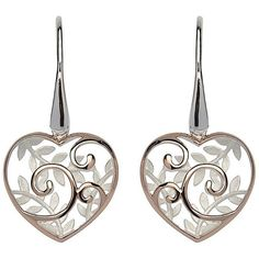 Unique Rose Silver Leaves and Swirl Heart Earrings ❤ liked on Polyvore featuring jewelry, earrings, swirl earrings, rose jewellery, dome earrings, rose earrings and silver earrings