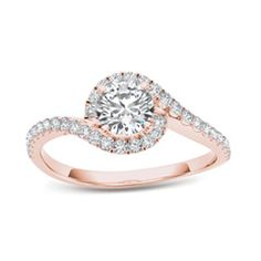 3/4 CT. T.W. Diamond Swirl Frame Bypass Engagement Ring in 14K Rose Gold