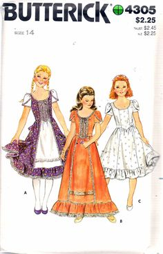 "Vintage 1980's Butterick 4305 Girl's Semi Fitted Flared Dress Sewing Pattern Size 14 Breast 32"" UNCUT by Recycledelic1 on Etsy"