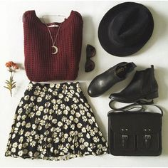 Cute fall outfit with the burgundy sweater, floral patterned skirt, black booties, black satchel, and hat.
