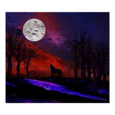 Wolf Moon - features a wolf howling beneath a Halloween moon complete with bats!  Original digital painting by UK Digital Artist, Rebelwolf