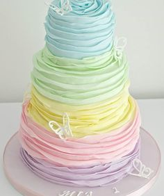 Rainbow Ruffles Birthday Cake | Birthday Cake, Cakes With Ruffles, Colorful Cakes | Beautiful Cake Pictures