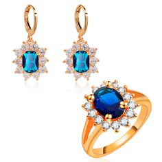 Yunkingdom Blue zircon crystal Jewelry Sets new Rose Gold plated Earrings crystal Rings for women fashion accessories LPG5