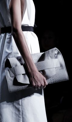 Leather Croc Clutch - chic fashion details; runway accessories // Narciso Rodriguez Spring 2016