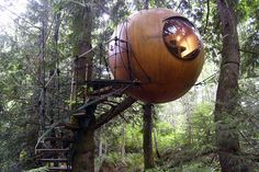 A wooden orb suspended in the trees. This #treehouse is amazing!