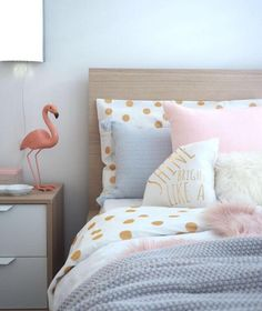 """How cute is this little girls room her brief to me was """"I like beige and neutrals maybe a touch of pink"""" so cute! You should of seen her face when we revealed her new bedroom to her #priceless  Design & Styling @empireofstyle_  #stylist #interiordesigner #interiordesignermelbourne #littlegirlsroom #girlroom #kidsrooms #homeinspo #flamingo #pinkgirlsroom"""