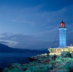 Lighthouse and hills of Northern Greece, Patras, Greece