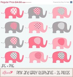 Items similar to Pink and Grey Baby Elephants Clip Art Set / Elephant Illustration / Printable Clip Art / Commercial / Modern Art / Pink on Etsy Elephant Baby Showers, Elephant Nursery, Pink Elephant, Baby Elephants, Cool Baby Girl Names, Make Your Own Invitations, Elephant Illustration, Baby Girl Crochet, Sewing Appliques