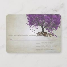 Shop Romantic Rustic Purple Heart Leaf Tree Wedding RSVP Card created by samack. Woodland Wedding Invitations, Wedding Invitation Design, Tree Wedding, Wedding Rsvp, Magical Tree, Metallic Paper, Tea Stains, Whimsical, Romantic