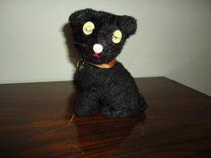 Antique Tin Wind Up Halloween Black Cat Made in Japan Hologram Eyes Works 100% #Unbranded