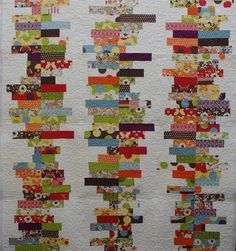 """Random Reflections Quilt by QOB - quilted by Karen Terrens.  The free pattern is available from Moda Bakeshop.  Quilt pieced by Evelyn.  Panto is """"Daisies Galore"""" by Timeless Quilting Designs."""