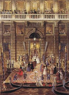 Charles de Beistegui's famous 1951 Ball in Venice. Watercolor by Alexandre Serebriakoff.