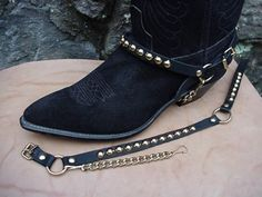 Heavy Metal for Your Bootsl! Round Studs (Nailheads) on sturdy Genuine Topgrain Leather Straps, 13 studs on front and 7 on backstrap. Studs are Brass base, Gold color finish; Steel underchain for tight fit on any pair of western or biker bo Bonded Leather, Lambskin Leather, Cowhide Leather, Black Leather, Leather Jacket, Vintage Shirts, Vintage Men, Boot Jewelry, Punk Jewelry