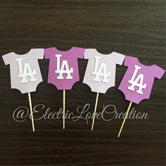LA Dodgers Onesie Cupcake Toppers  Set of by ElectricLoveCreation