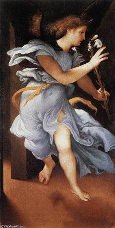 'ange de l' annonciation', huile sur toile de Lorenzo Lotto (1480-1557, Italy)