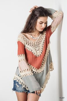 Multi Colored Crochet Top - Rust - Knitted Belle Boutique ❤️ this top!!