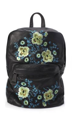 Christopher Kane Bouquet Embroidered Leather Backpack