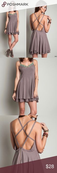 """Umgee Sun Dress Cross Back Embroidered Mocha Boho NEW Umgee Sun Dress Cross Back Embroidered Mocha Brown Boho Fit Flare S M L  Measurements: (in inches) Underarm to underarm: Small (18), Med (18.5), Large (19) Length: about 34"""" (straps adjust) Waist: Small (29), Med (31), Large (32)  New with tags. 65% Cotton, 35% Polyester Umgee Dresses Mini"""