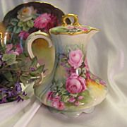 Victorian Roses CHOCOLATE COCOA POT Antique Limoges France Chocoliatiere HAND PAINTED TEA ROSE