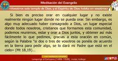"""MISIONEROS DE LA PALABRA DIVINA: MEDITACIÓN DEL EVANGELIO - """"Vosotros sois templo d..."""
