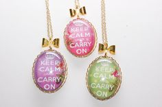 Keep Calm and Carry On Pastel Coloured Pendants with Gold Bows and Chains by Jayne Kitsch Vintage Inspired Design