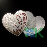 New Design !2015 Eternal Love Heart-Shaped Silver Proof coins for Valentine's day, 10pcs/lot, Free Shipping