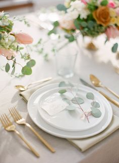 Place Setting with Gold Flatware   photography by http://www.kristenlynne.com/