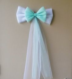 Mint and White Tulle Wedding Bow Church Pew by DarlingChicDesign