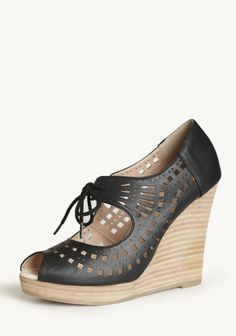 Mindy Lace Up Wedges In Black By Restricted at #Ruche @shopruche