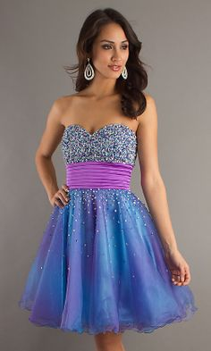Strapless Blue Short Party Dress
