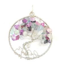 New Hand Created Non Tarnish Silver Wire Wrapped Purple Tree of Life Pendant