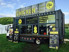 Shipping container food truck lots of windows, huge pop up sign Container Food, Container Truck, Food Containers, Container Design, Shipping Container Restaurant, Shipping Container Homes, Shipping Containers, Best Food Trucks, Cool Trucks