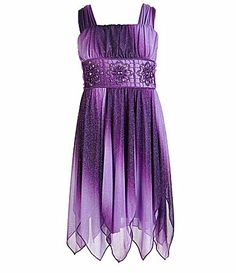 My Michelle 716 Ombre Glittered Chiffon Dress #Dillards