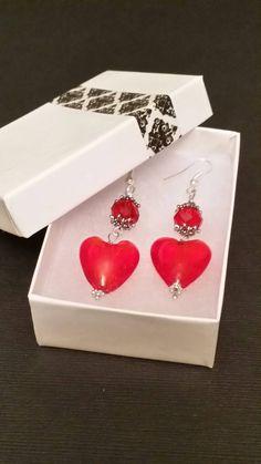 Queen of Hearts-Red Heart Dangle Earrings by MissPittyPatsJewels