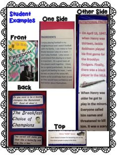 Student examples of a Cereal Box Biography Book Report.