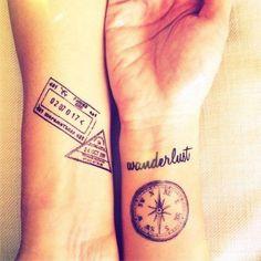 Best friend travel tattoos via Justtravelstuff